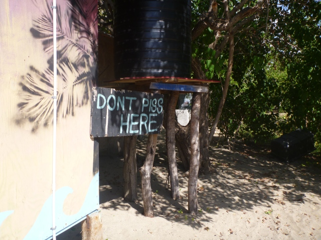 "The nicest ""Don't Piss Here"" sign I've seen yet - Fisherman's Beach"